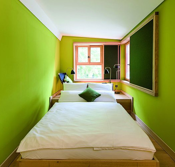 bedroom interior with brightly painted walls