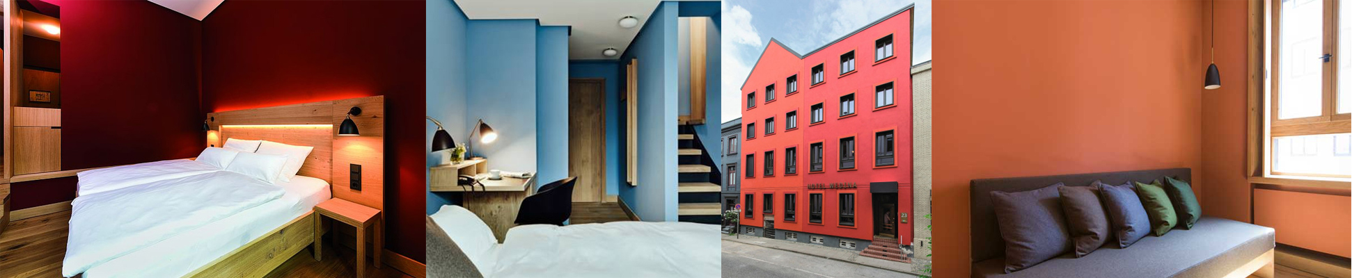 collage of building interiors and exteriors with KEIM paint